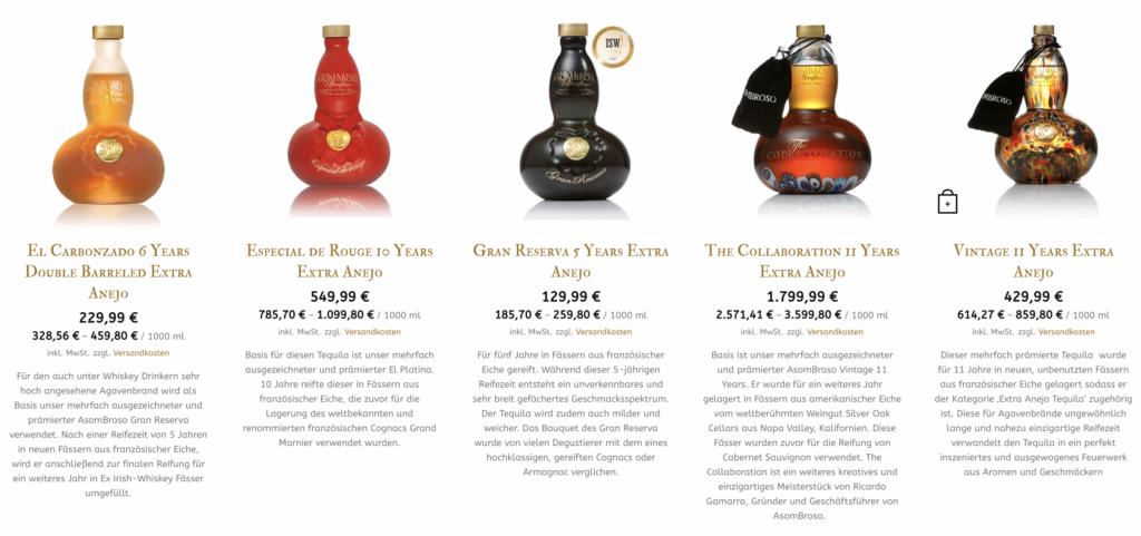 Asombroso Tequila Produkte