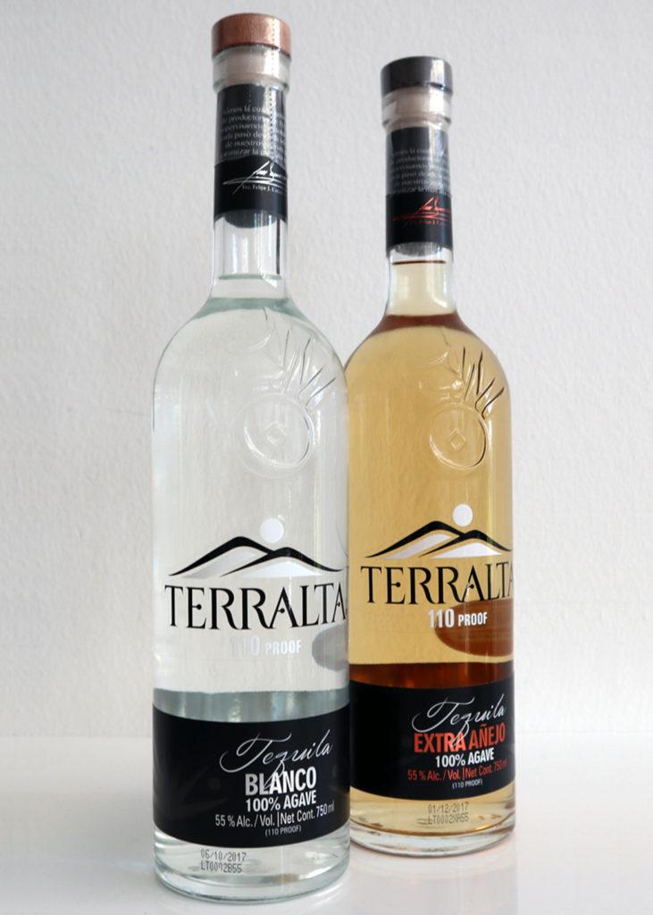 Terralta Blanco 110 proof (55%) und noch viel erstaunlicher: Terralta Extra Añejo 110 proof (55%).