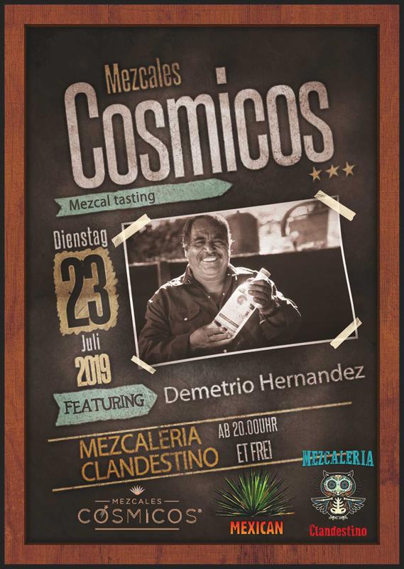 Mezcal Tasting, Mezcales Cosmicos - Mezcal aus Oaxaca, Mexiko. Demitrio Hernandez ist der Produzent der Mezcales Cosmicos, einer relativ neuen Marke.